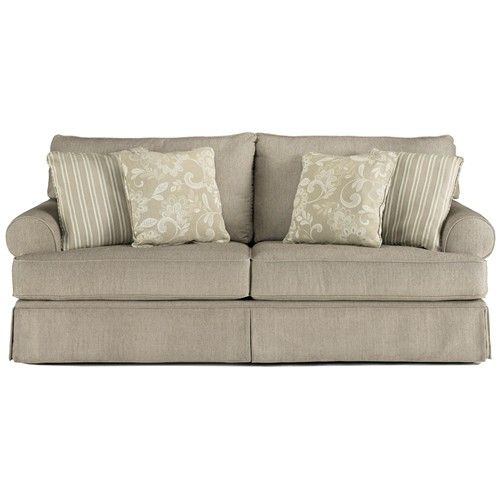 Candlewick   Linen Sofa With Rolled Arms And Skirt Base   Belfort Furniture    Sofa Washington