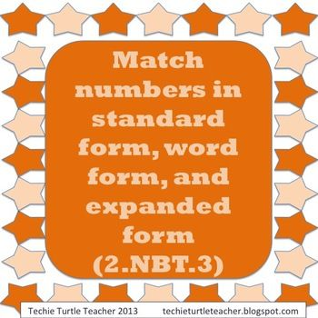 2nbt3 Matching Numbers Word Form Expanded Form Standard Form