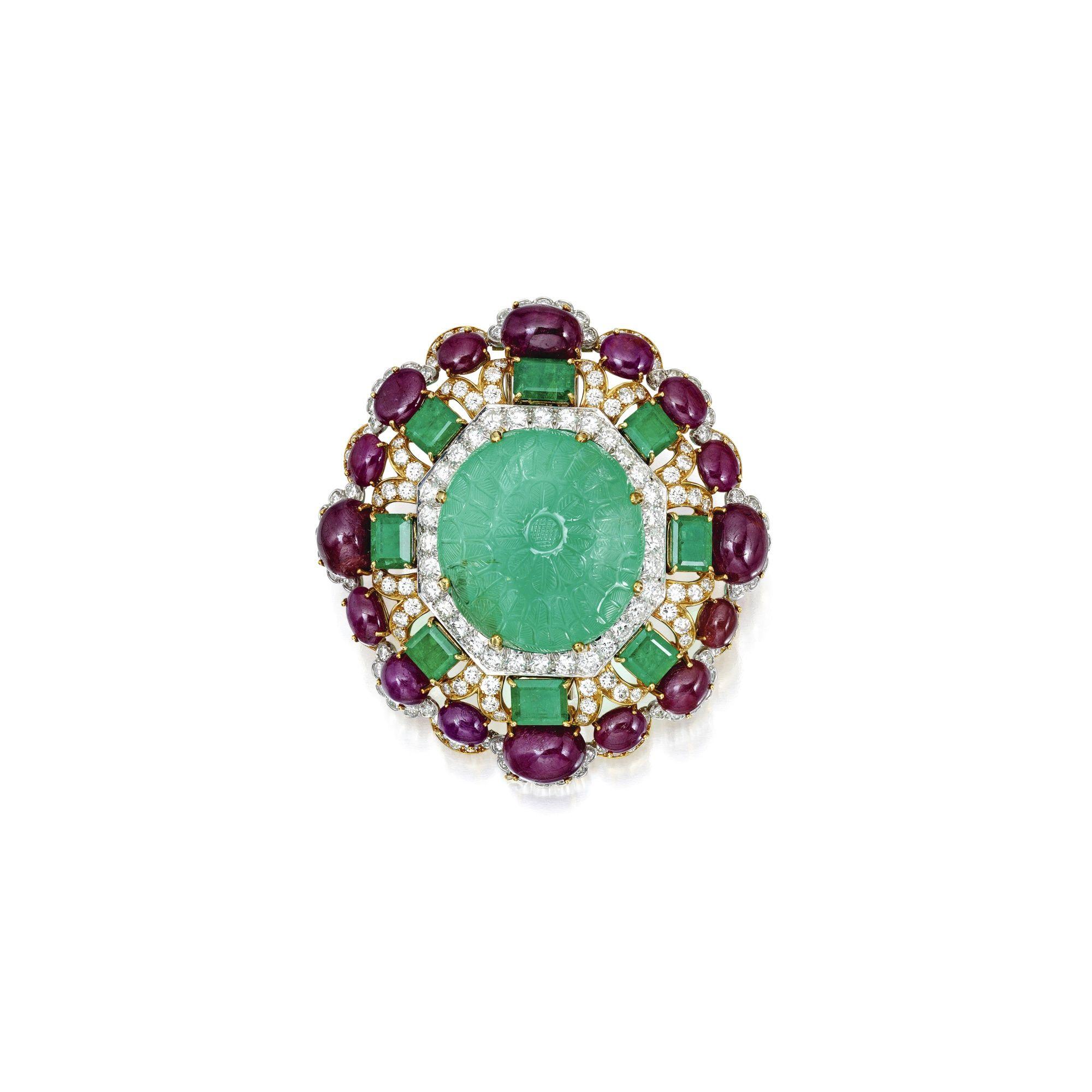 Gemset and diamond pendantbrooch david webb of floral design