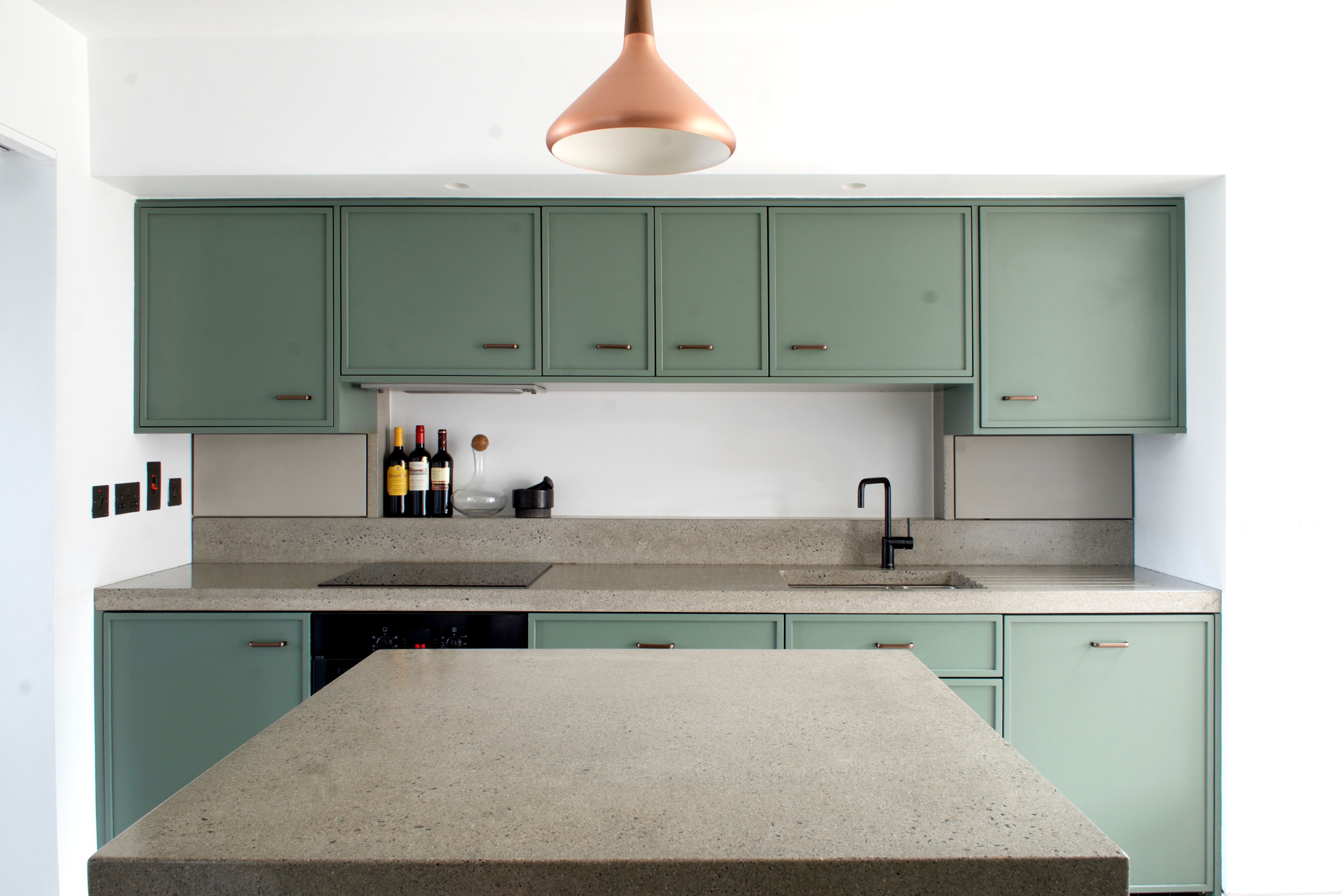 Best Handmade Kitchen With Concrete Worktop Farrow And Ball 400 x 300