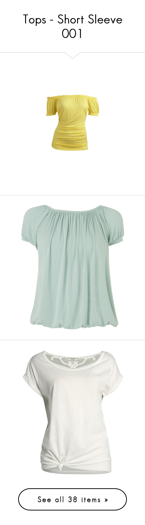 """""""Tops - Short Sleeve 001"""" by blessthe-brokenroad ❤ liked on Polyvore featuring tops, shirts, blusas, t-shirts, off shoulder ruffle top, frilly tops, off shoulder top, frilly shirt, off shoulder shirt and blue"""