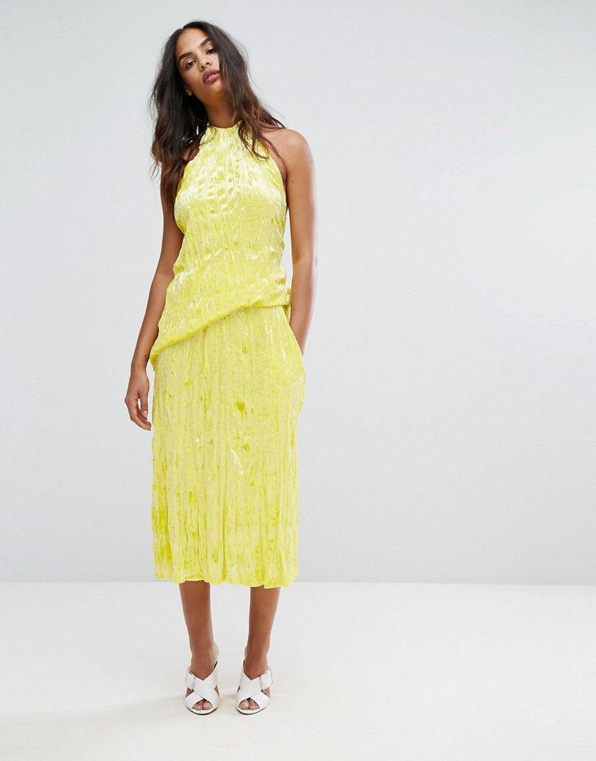 bea5d98ff85 Warehouse Premium Crushed Velvet Midi Skirt - Yellow