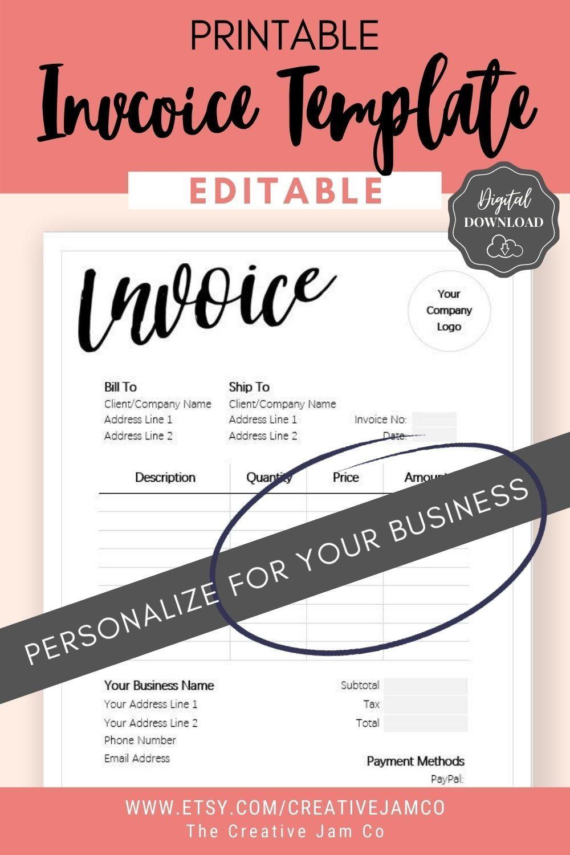 Invoice Template Order Form Editable Custom Receipt Template Etsy In 2020 Invoice Template Receipt Template Budget Spreadsheet