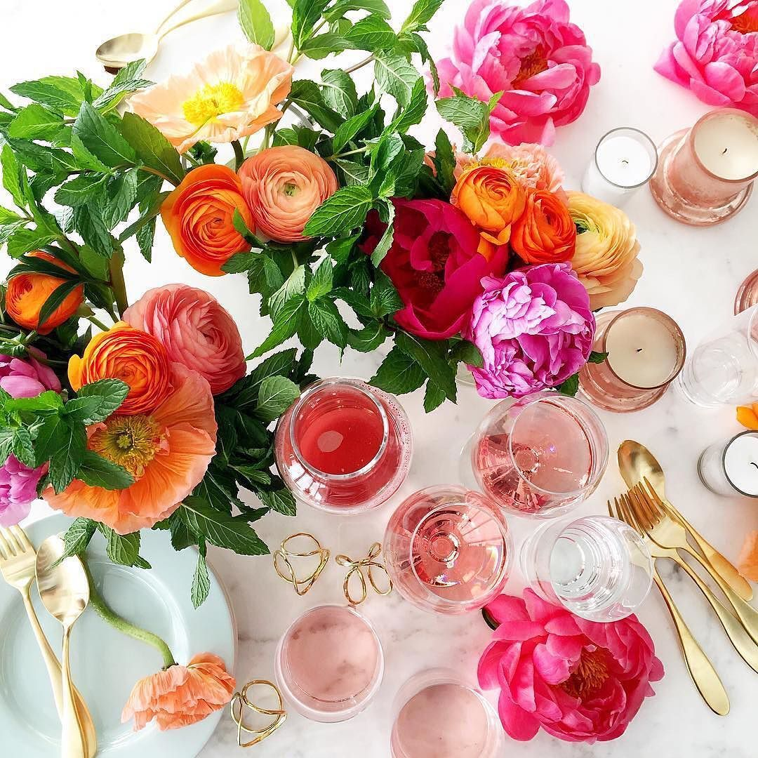 Ranunculus And Rosé On Set At Real Simple Today Photo Rs Epic Home