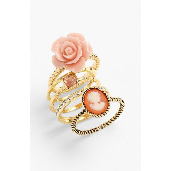 Ariella Collection Floral & Cameo Stack Rings (Set of 5) (Nordstrom Exclusive) found on Polyvore