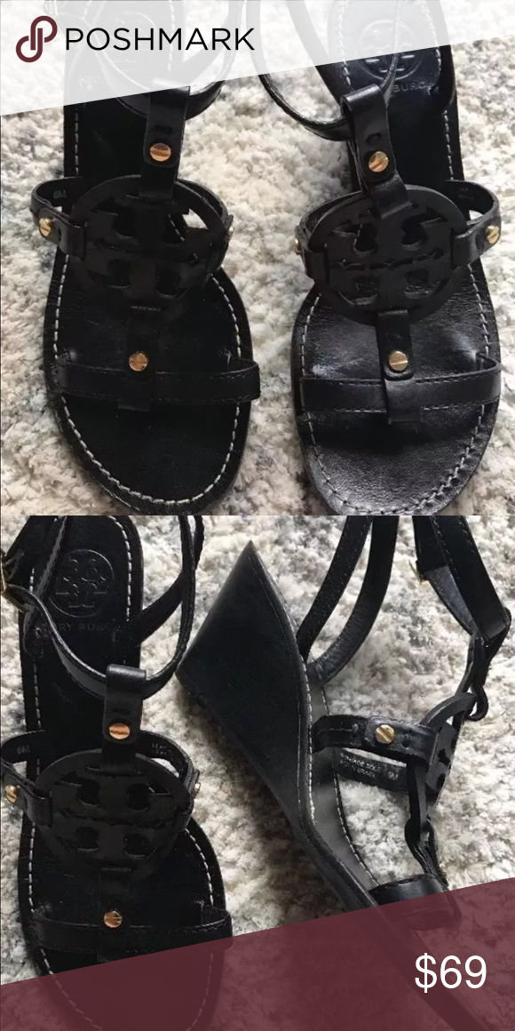 6444966d16cd72 Tory Burch Zoey Wedge Sandals 6 6m Black leather wedge sandals from Tory  Burch. Laser cut logo. In excellent condition . Tory Burch Shoes Sandals