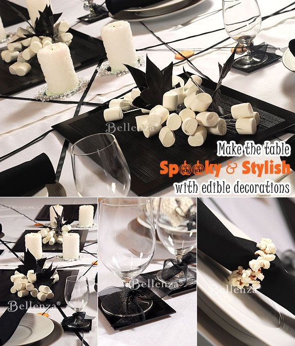 f997473518de Marshmallow Halloween table centerpieces with candles  halloween   centerpieces  placesettings  blackandwhite