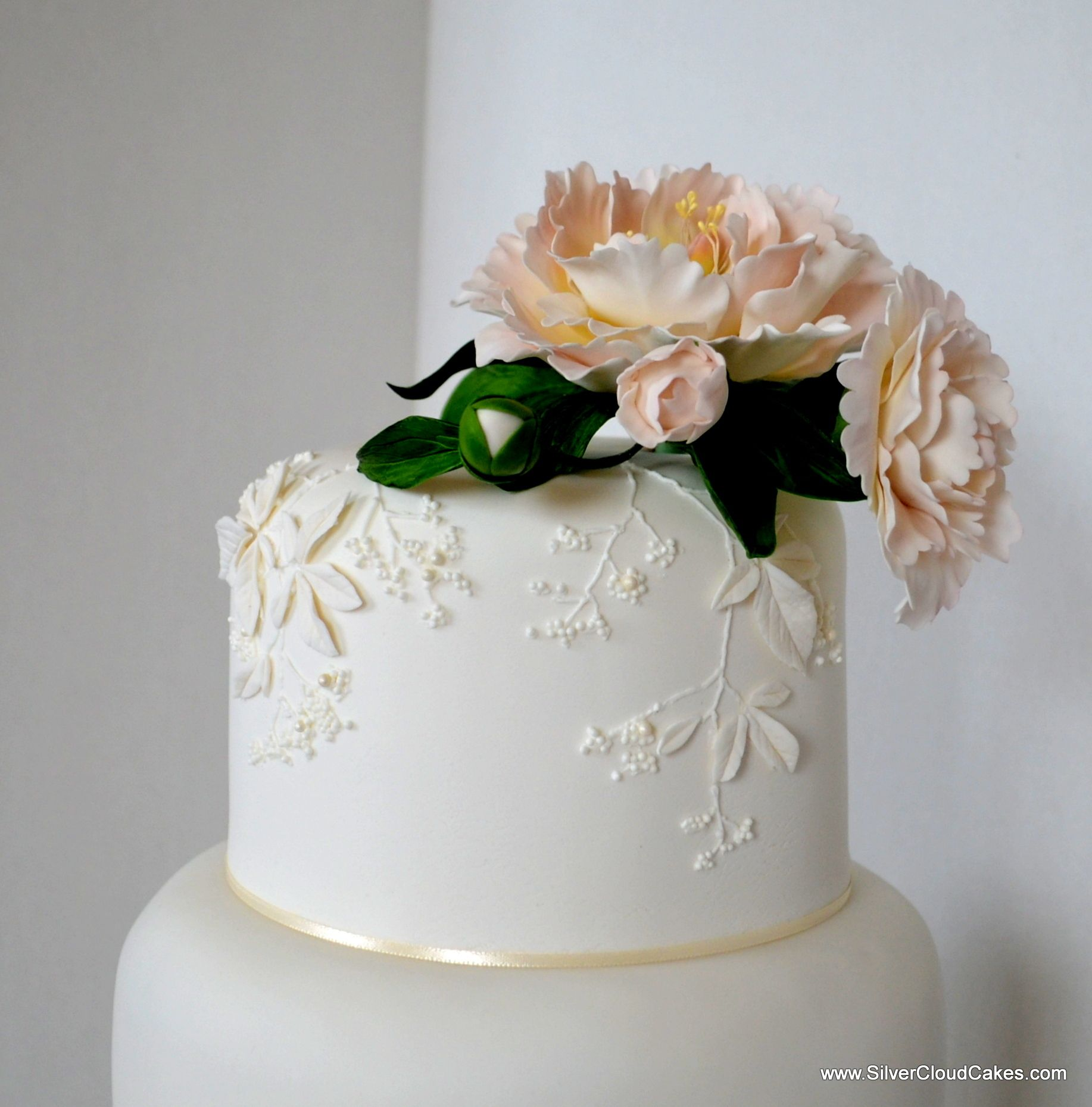White on White Wedding Cake with bas relief and Sugar Peony ...