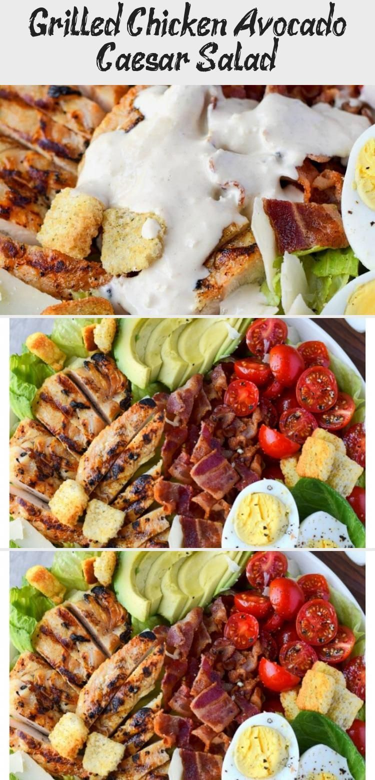 Grilled Chicken Avocado Caesar Salad - Nutrition #grilledchickenparmesan Chicken Avocado Caesar Salad is one of our favorites for a quick and easy meal. Grilled chicken, fresh avocado, crispy bacon, tomatoes and egg slices. Tossed in a homemade creamy Caesar dressing and topped with croutons and parmesan. #saladBuah #Ketosalad #Thaisalad #Kalesalad #saladIdeas #grilledchickenparmesan Grilled Chicken Avocado Caesar Salad - Nutrition #grilledchickenparmesan Chicken Avocado Caesar Salad is one of o