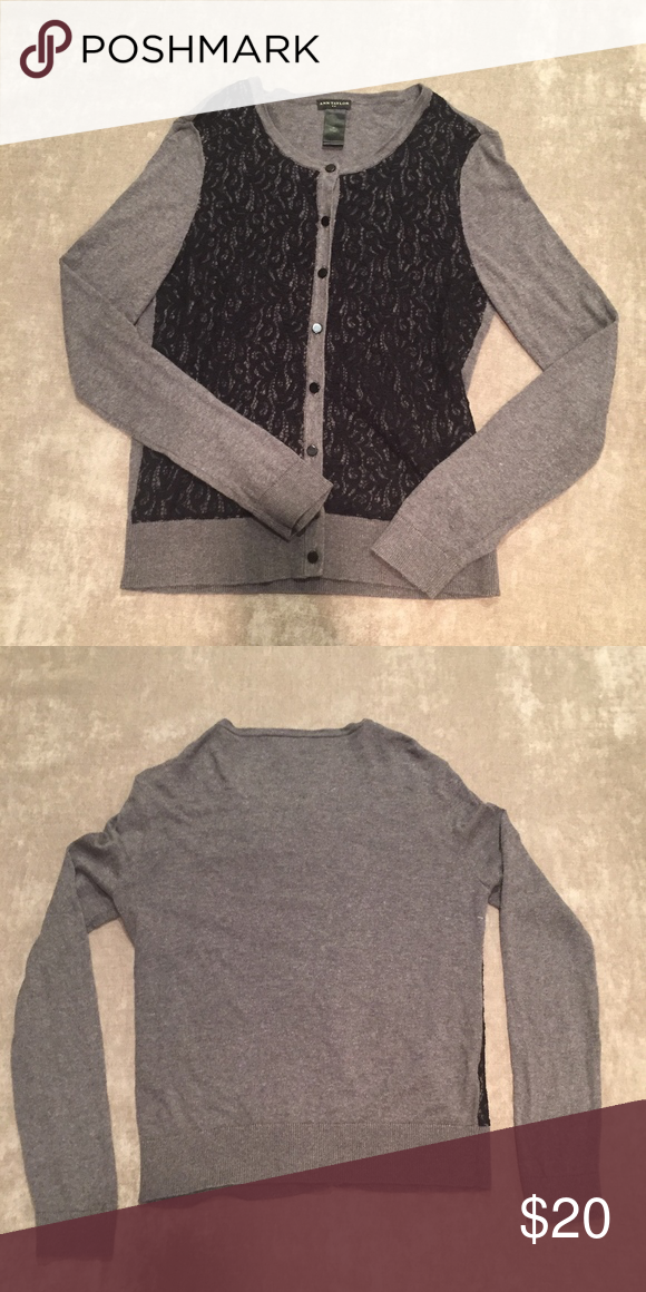 25544994be Ann Taylor cardigan Black lace on gray cotton cardigan excellent condition Ann  Taylor Sweaters Cardigans