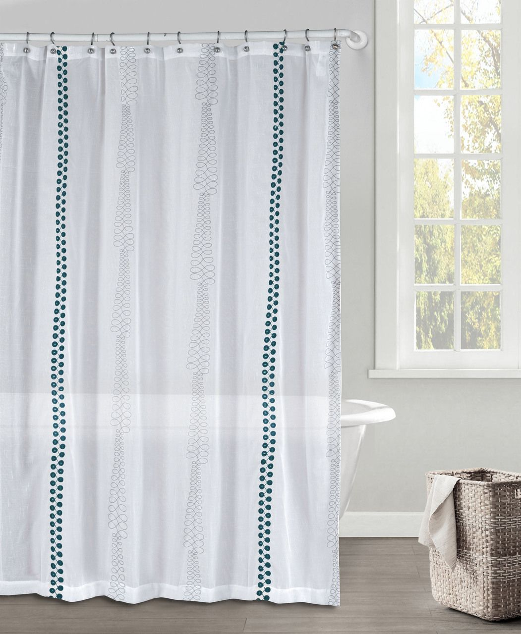 White Gray And Dark Teal Faux Linen Textured Sheer Fabric Shower Curtain Embroidered Geometric Design 70 X 72 Fabric Shower Curtains Curtains Geometric Design
