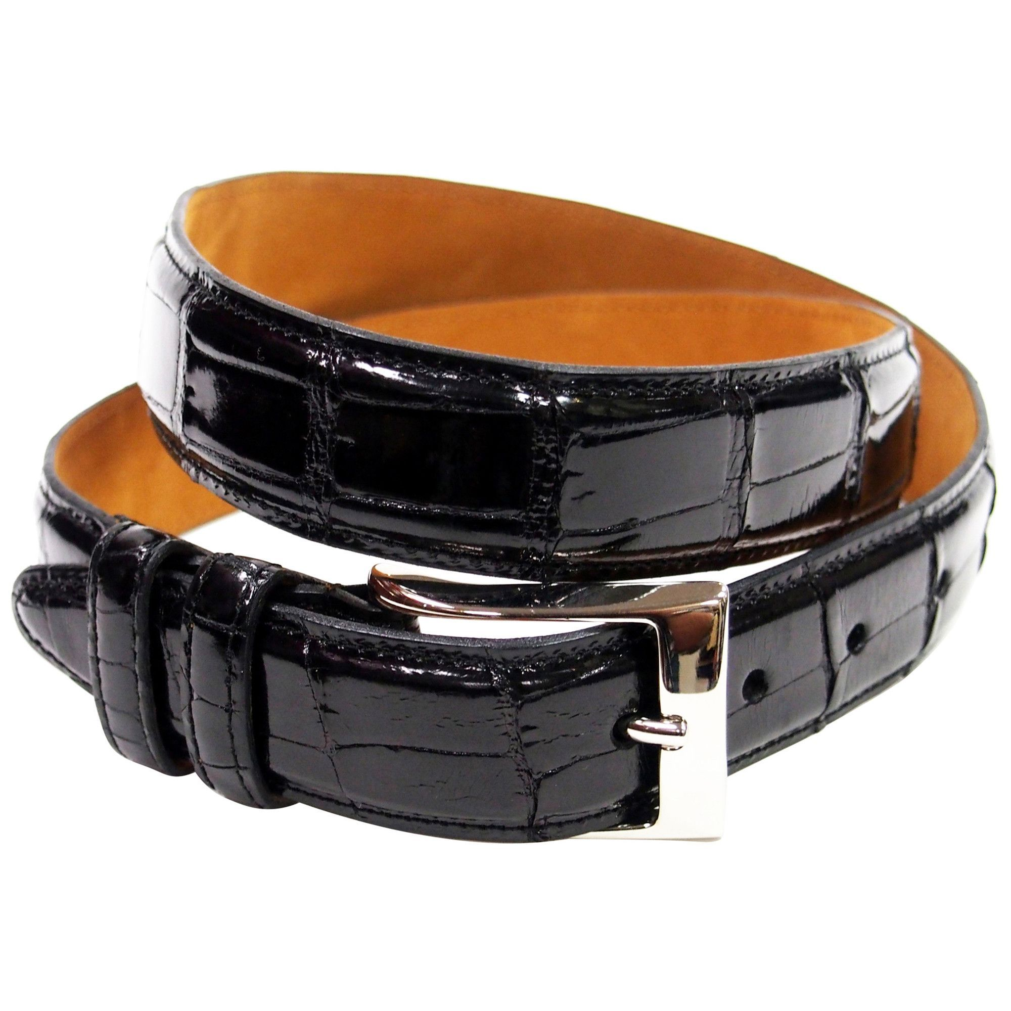 Genuine Black Alligator Leather Belt with Sterling Silver Buckle Made in U.S.A