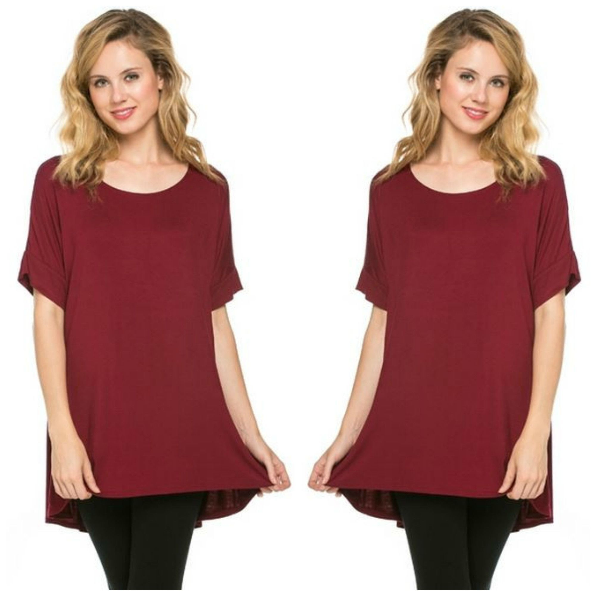 Burgundy Hi-Low Jersey Slouch Tee