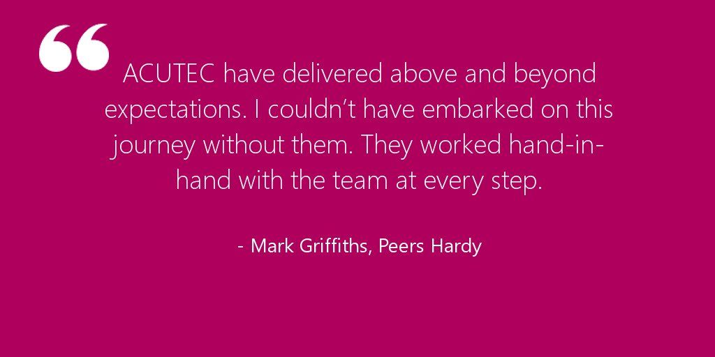 #QuoteOfTheDay from Peers Hardy on their #Azure migration. Read the story here https://t.co/r99keqKF4e https://t.co/oH0PzJhBYM - ACUTEC
