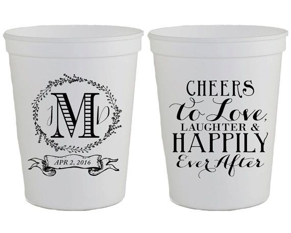 Wedding Cups Favors Monogrammed Plastic Cheers To Love And Laughter Custom Monogram