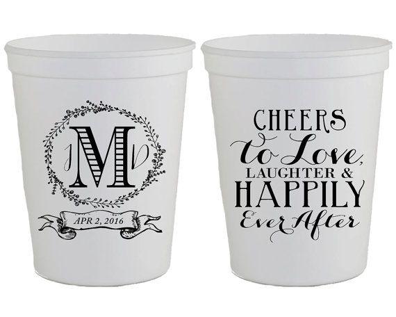 Wedding Cups Wedding Favors Monogrammed Plastic Cups Cheers Etsy Cup Favors Wedding Custom Wedding Monogram Wedding Cups