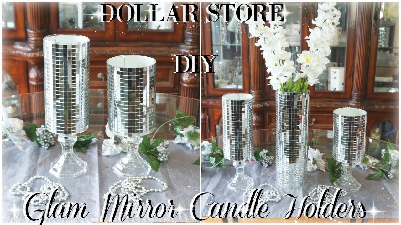 Diy dollar store glam mirror candle holders diy bling room decor
