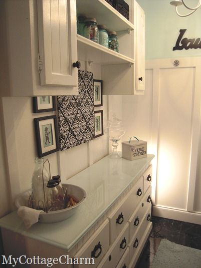 Elegant laundry...could my laundry area ever look this good?
