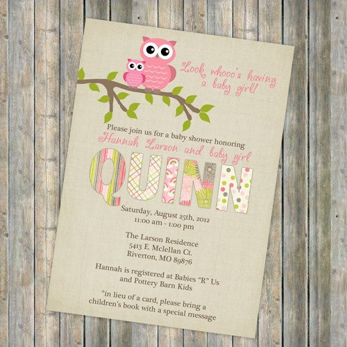 owl baby shower invitations, baby shower invitation with owls, Digital, Printable file (any colors) http://www.etsy.com/shop/freshlysqueezedcards