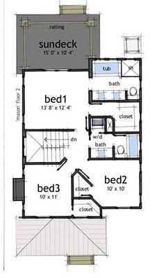 Planos de casas gratis de 2 pisos 3 habitaciones en 150 for Medio bano bajo escalera