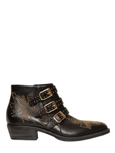 STRATEGIA - 34MM STUDDED BELTED LEATHER LOW BOOTS