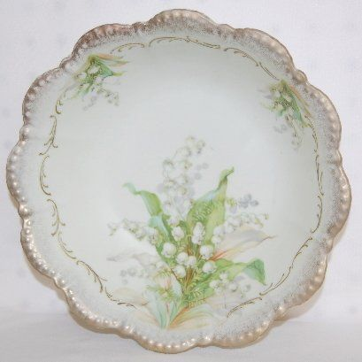 Floral China Bowls, Nippon, Germany, Bavaria Silesia Old Ivory, Lily of the Valley.