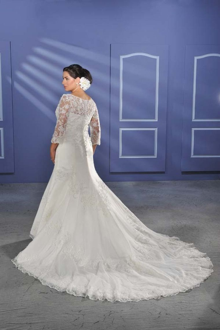 Modest a line v neck appliques court plus size wedding dress with