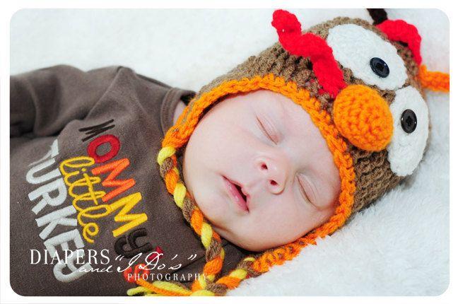 98feb7868fb Baby Thanksgiving Earflap Turkey Hat - Crochet Newborn Beanie Boy Girl  Costume Winter Christmas Photo Prop Cap Outfit