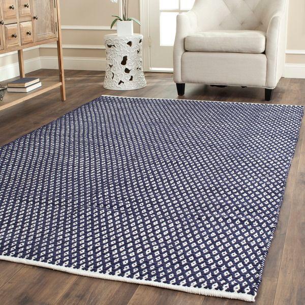 safavieh handmade boston navy cotton area rug (5'x 8') - overstock