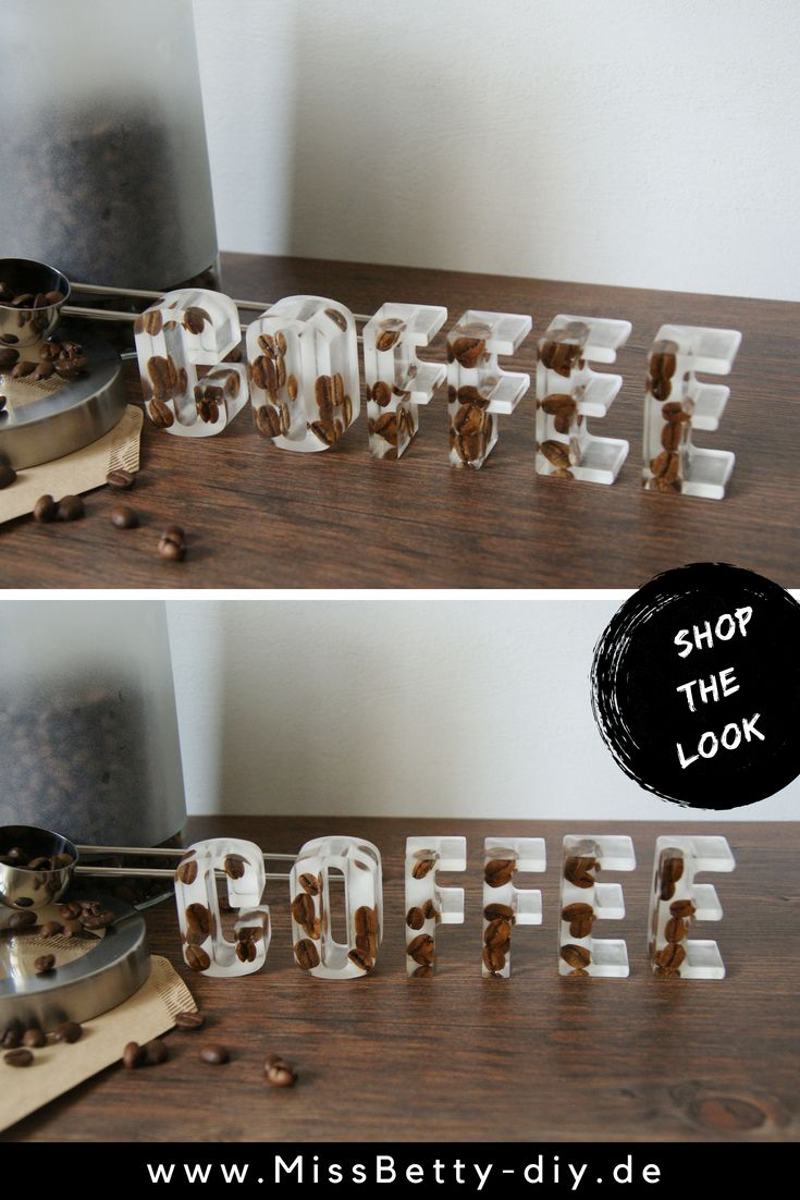 schriftzug buchstaben mit kaffeebohnen deko buchstaben. Black Bedroom Furniture Sets. Home Design Ideas