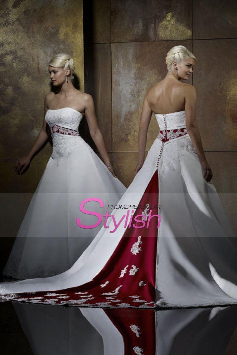 Bicolor Wedding Dresses A Line Strapless Court Train Satin: Red Diamond Wedding Dresses At Reisefeber.org