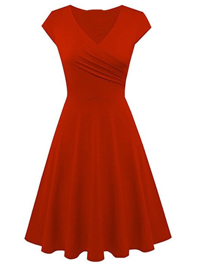 Solid Color Surplice Plain Skater Dresses in 2019  7880fec967cd