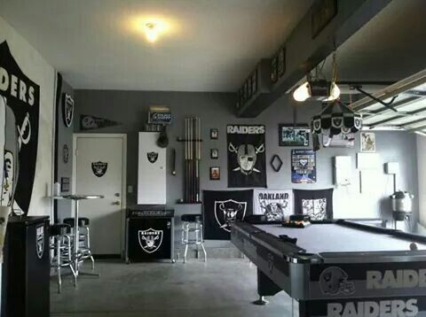 Raiders Fan Cave With Images Oakland Raiders Man Cave Ideas Man Cave Man Cave Games