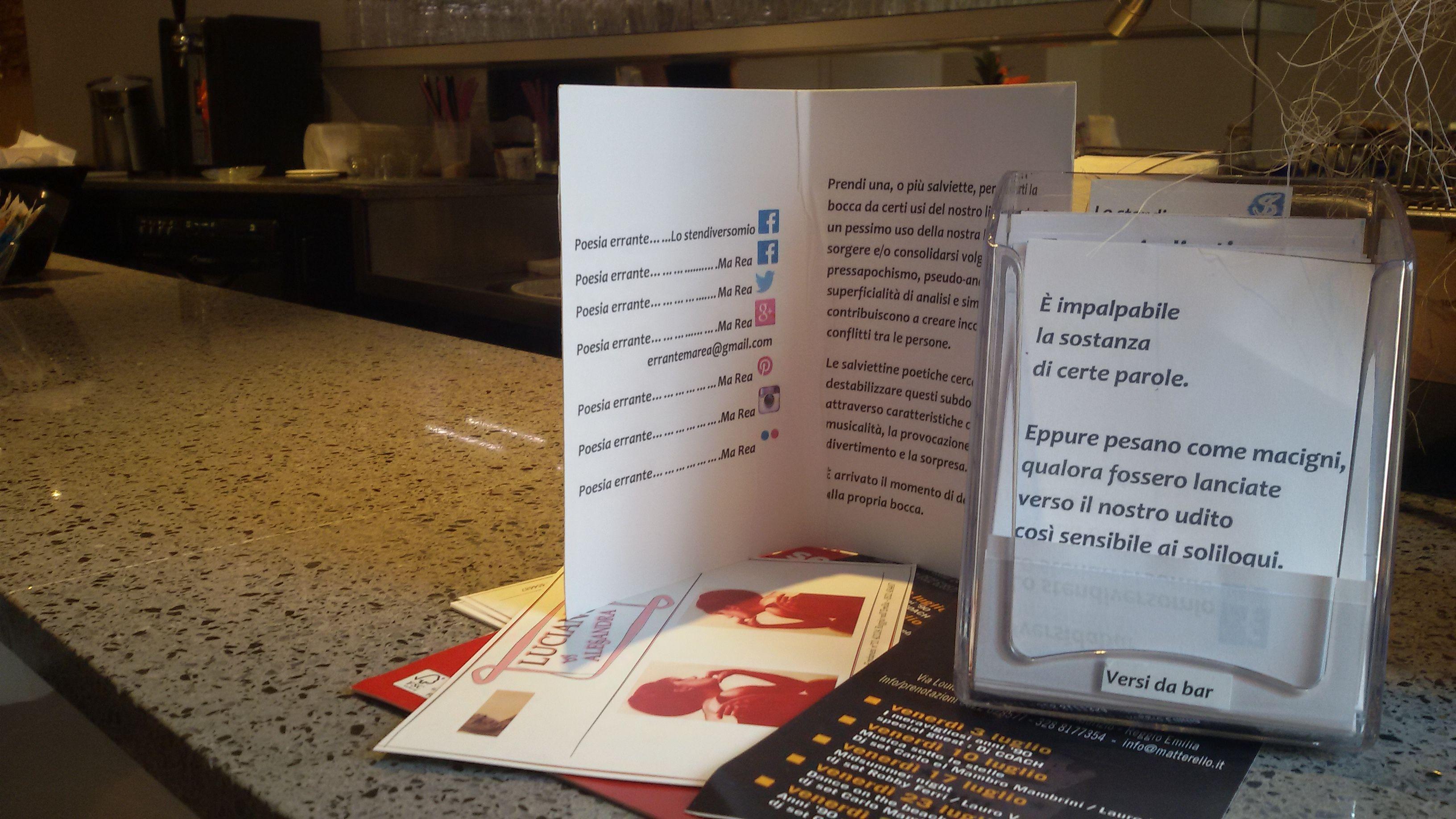Nuovi versi da bar al Dolceamaro caffetteria in via Toschi, Reggio Emilia. Reggiane proposte per pulirsi la bocca.  #versidabar  Ma Rea