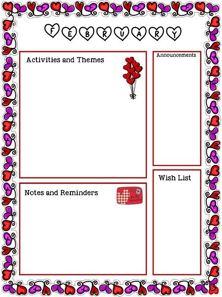 Free February Newsletter Template! valentines Preschool