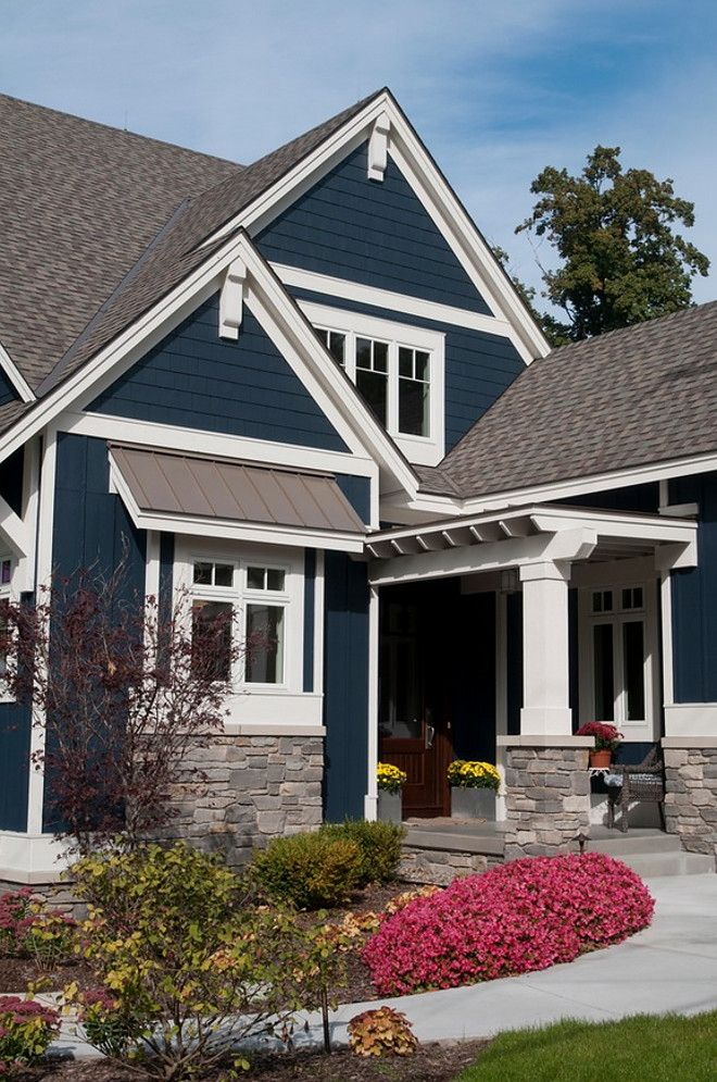 Nice House Colors Navy White Trim Greyish Stone And Brown Door