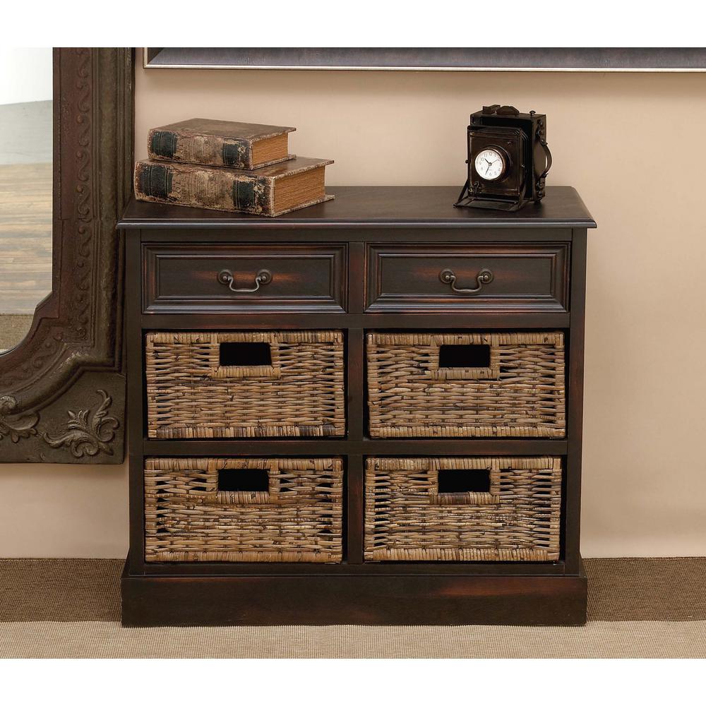 Litton Lane 28 In Walnut Wooden Cabinet With 4 Wicker Baskets