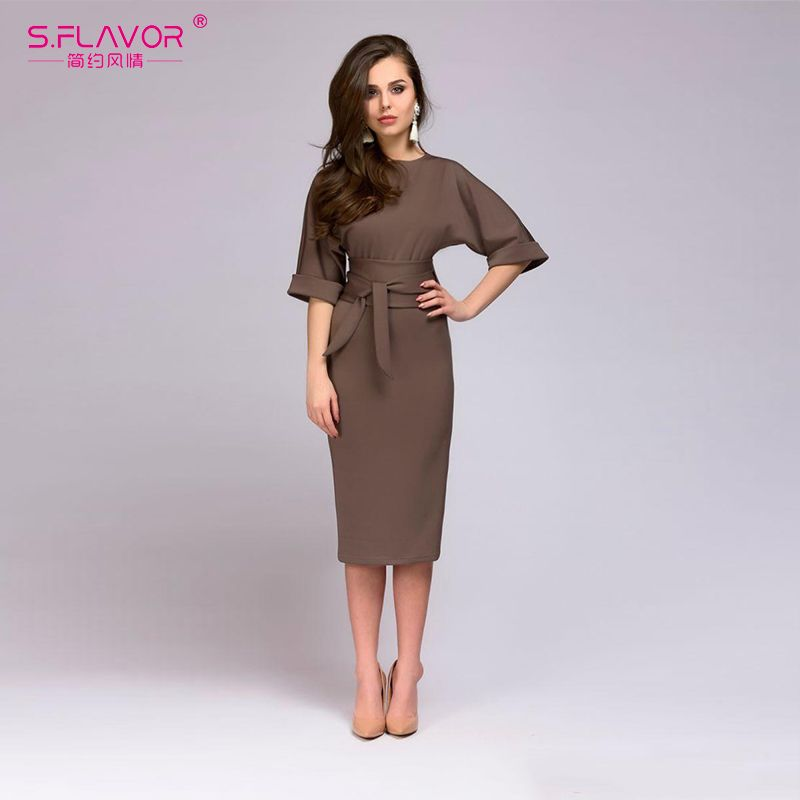 46863707f3f1b8 S.FLAVOR simple straight dress for office Ladies 2018 Spring new O-neck  half sleeve knee-length vestidos with belt casual dress