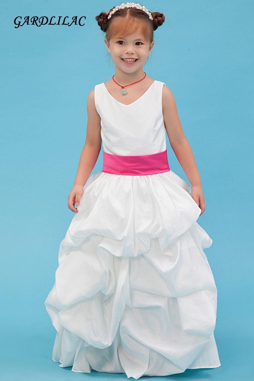 2017 real picture white flower girl dress for wedding prty short ...