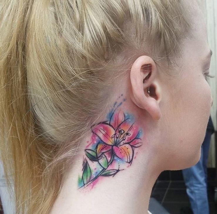 27 Beautiful Neck Tattoo Ideas: Beautiful Watercolor Lily Tattoo On Side Neck
