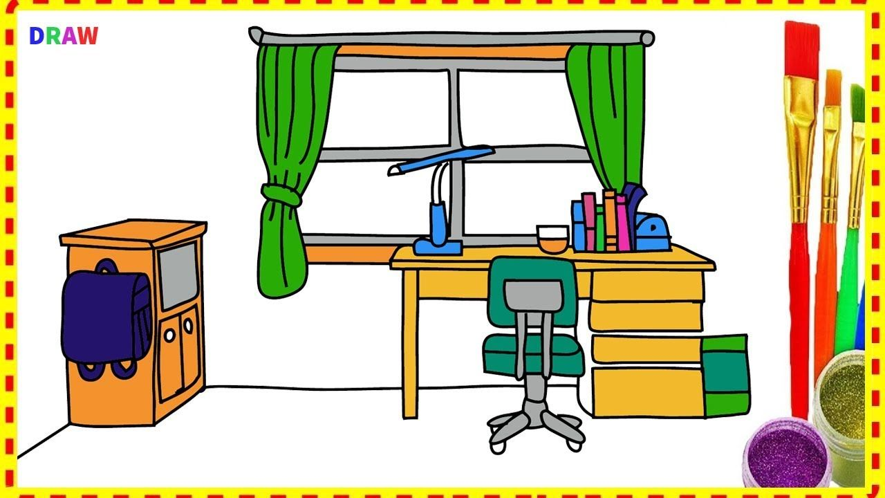 Draw Nobita's Room and Table - Draw and Coloring Doraemon
