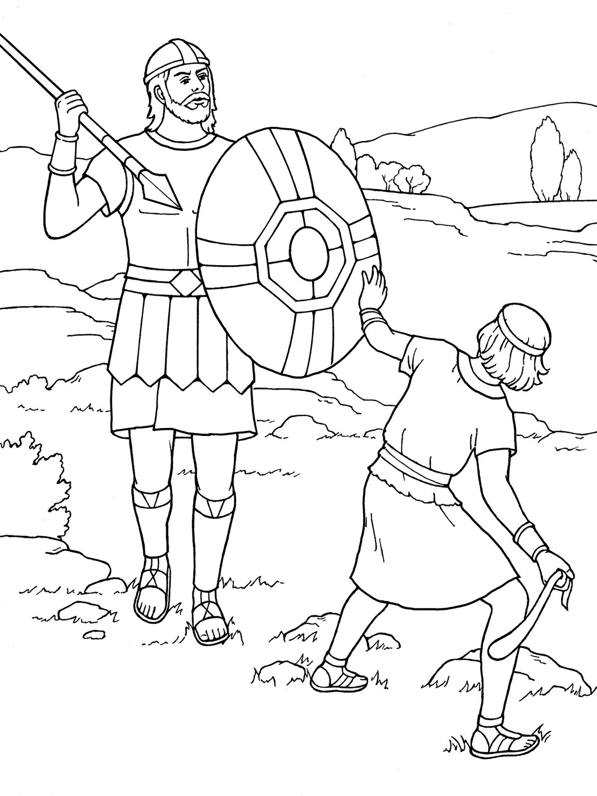 David and Goliath Coloring Pages Sunday school coloring