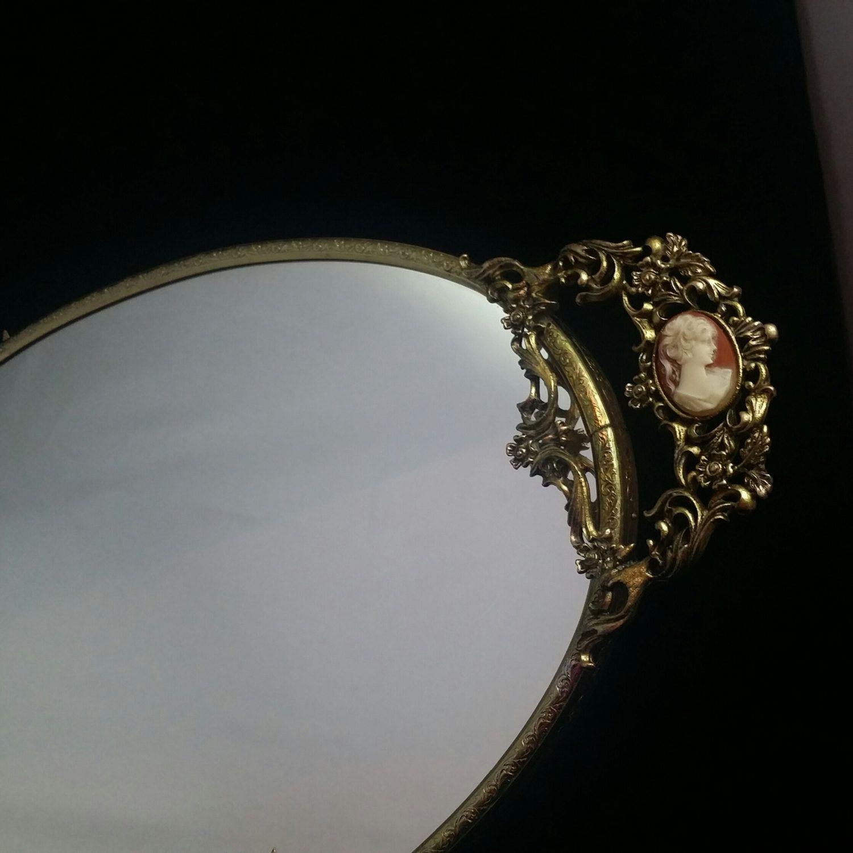 Cameo Vanity Mirror Filigree Vanity Tray Filigree Display Mirror Vanity Tray Antique Collection Mirror Tray