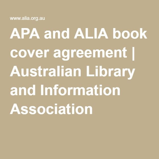 Apa And Alia Book Cover Agreement Australian Library And