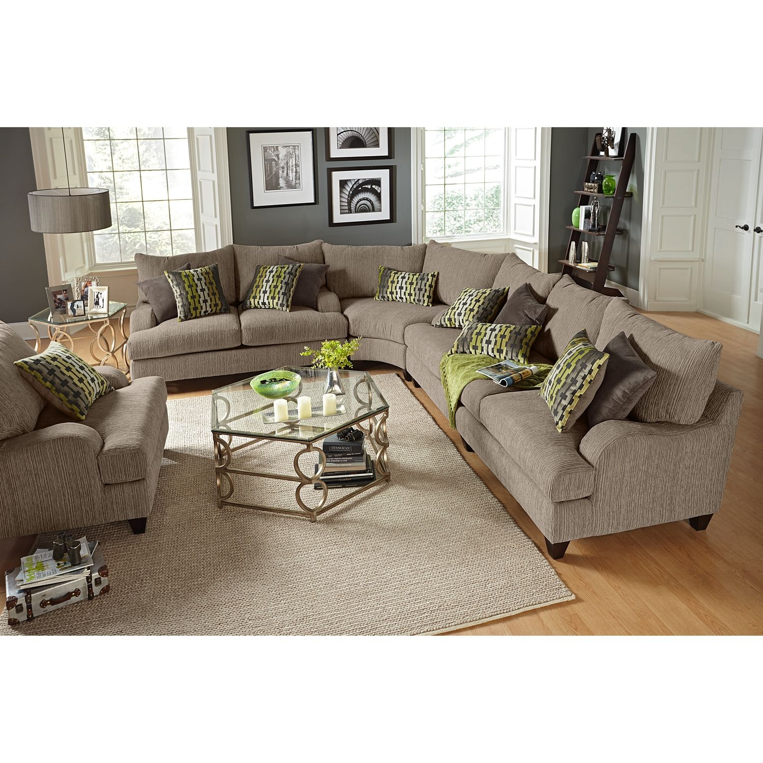 Santa Monica Ii 3 Piece Sectional Value City Furniture Minus The Lime Green Pillows