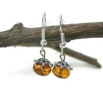 Beaded Dangle Earrings Brown Silver by WildRoseGiftBoutique, $10.00