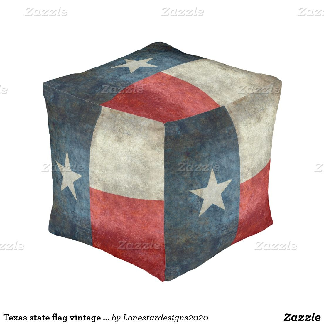 Texas state flag vintage retro style Square Pouf  #Homedecor #Room #accessories #Interior #decorating #Idea #Styles #Home