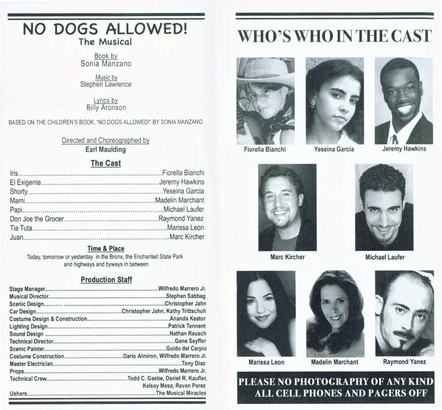 hilarious inside of a playbill for the inside of our ...