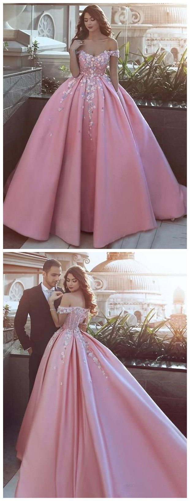Ball gowns offtheshoulder long prom dress sweepbrush train pink