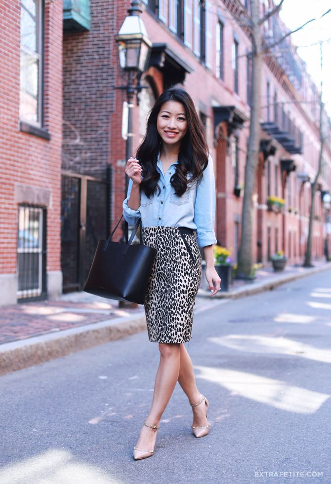 Spring Office Wear Petite Chambray Shirt Animal Print